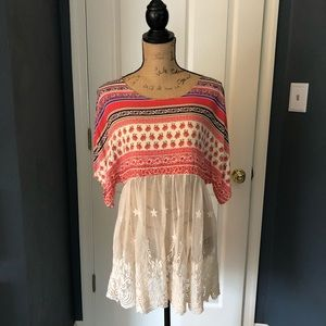 Grace and Lace oversized Boho top with lace detail